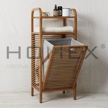 Bamboo Laundry Hamper Storage Shelf Bathroom Basket Homex Bsci