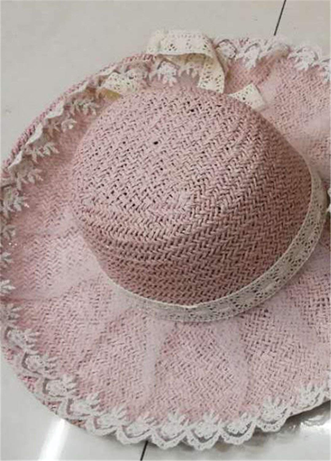 f4c348c3d8176 Summer Women Floppy Straw Sun Hat With Lace Bow Big Wide Brim Lace Up Caps  Beach