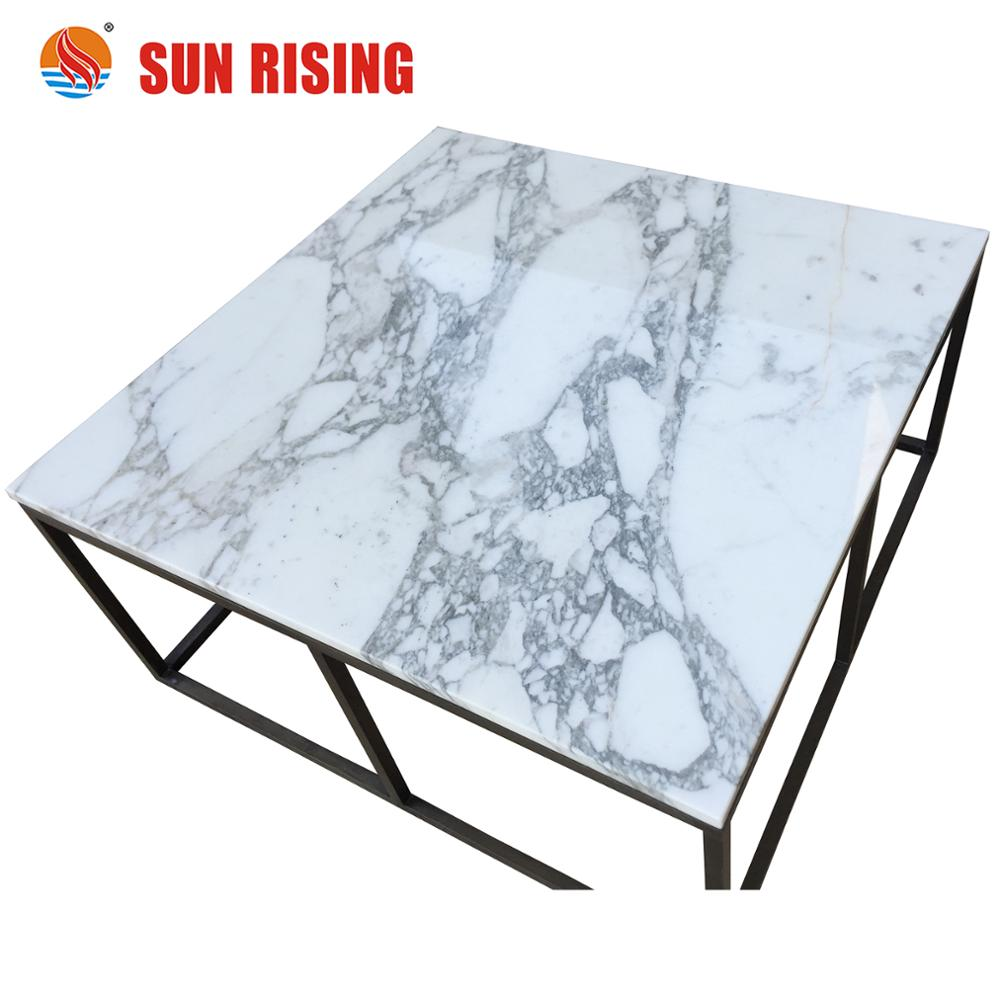 Calacatta White Marble Desk Top Table Inlay Carrara Product On Alibaba