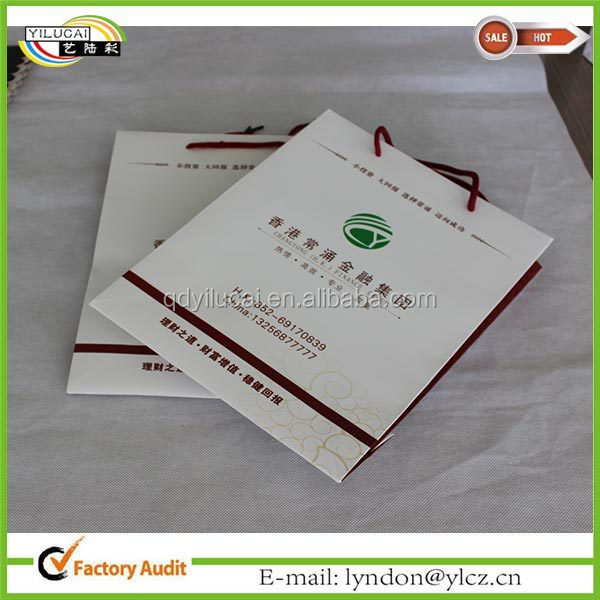 Newly advertising white paper bage with custom logo printed
