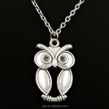 Hot Selling Hip Hop Jewelry Sliver Chain With big eyes owl Pendant Necklace for Souvenir