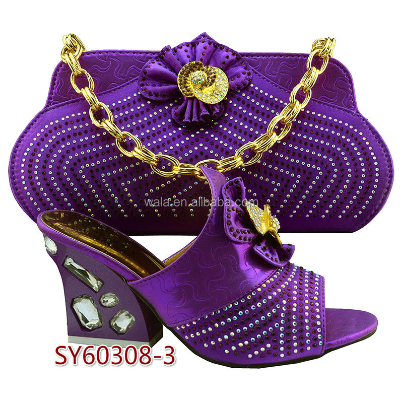 2016 coming new ladies italian platform 5 shoes yellow match and bag SY60308 bags shoes matching purple qwFxUTAEE