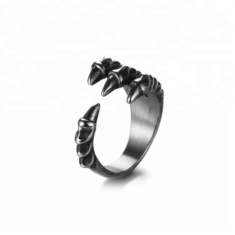 East Queen Jewelry Mens Vintage 316L Stainless Steel Dragon Claw Rings