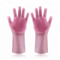 Amazon Hot Sale Heat Resistant Magic Silicone Dishwashing Gloves With Wash Scrubber