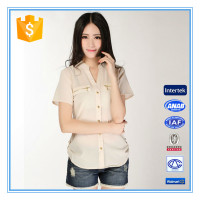 2016 Latest New Models Of Chiffon Blouse With Gold Button