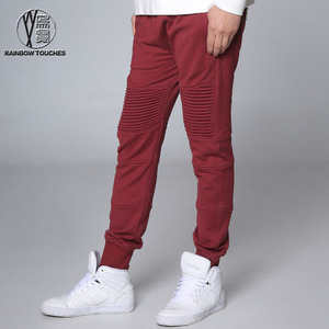 2016 trendy wine red stretch wholesale blank jogger pants