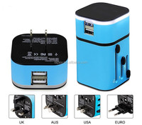 Best Promotional Gift adaptor International Universal Travel Adapter With 2 Usb Port