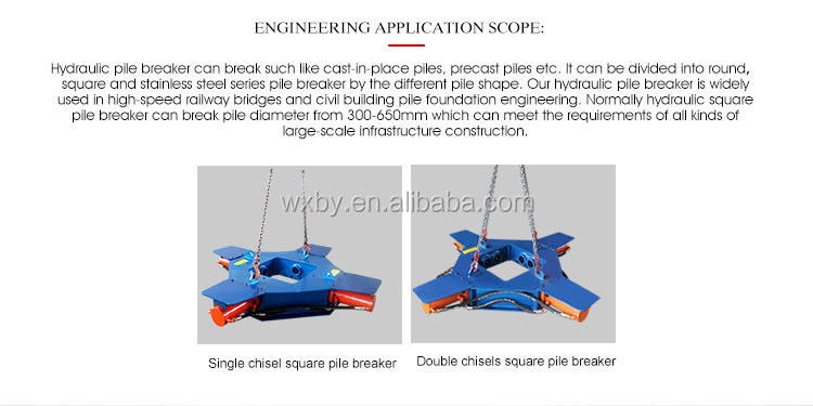 concrete square piles head cutter BY-PB500S hydraulic pile breaker for excavator