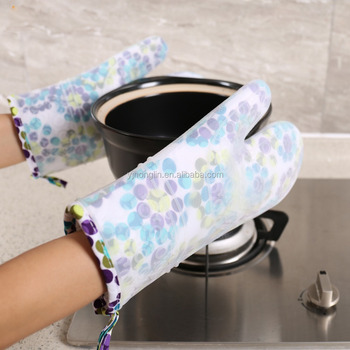 30cm bbq grilling cooking gloves silicone heat insulation mitts
