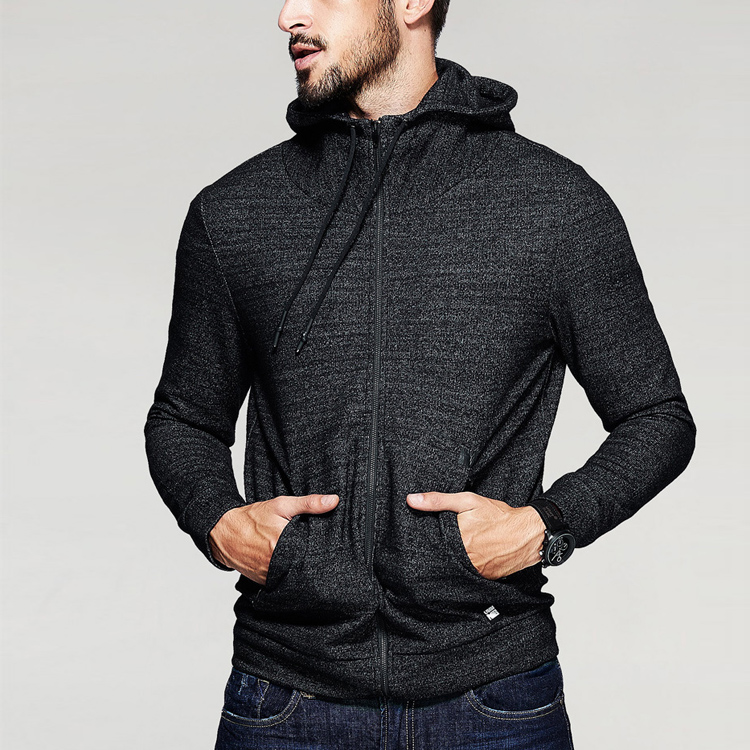 Gym Fitted Hoodie Plain Cotton Slim Fit Mens Tracksuit With Lace Up
