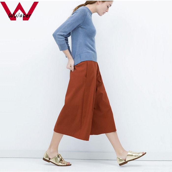 Get Quotations · Wwater New Fashion 2015 Women Elegant Knee Length Wide Leg  Pants Ladies Trousers Loose Vintage 816d2cb6a105