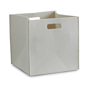 Beige Felt Foldable Cube Basket for Cloth and Toy's Organize