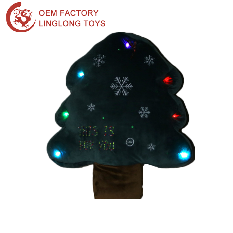 China Supplier Plush Christmas Tree Ornaments With Led Light For 7 Led Color Christmas Decorating Trees