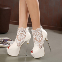 16CM stiletto high heel shoes with high platform peep toe summer ankle boots PY3504