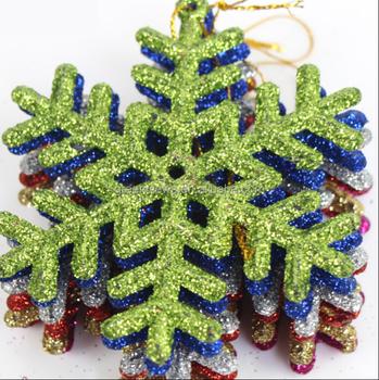 Hot Sale Christmas Tree Snowflakes Plastic Glitter Hanging Snowflake Decorations