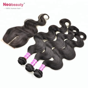Top Grade Real mongolian virgin hair body wave with lace closure 4*4