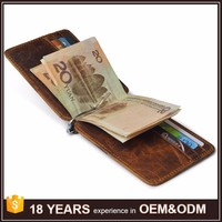 High Quality Vintage Leather Designer Brand Mens Wallet with Money Clip