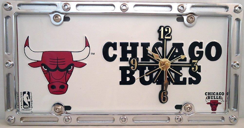 1 , Quartz Clock, on a, Chicago Bulls, Metal Sign, in a Slotted Rim Metal Border,,6A2.8&4A1.2