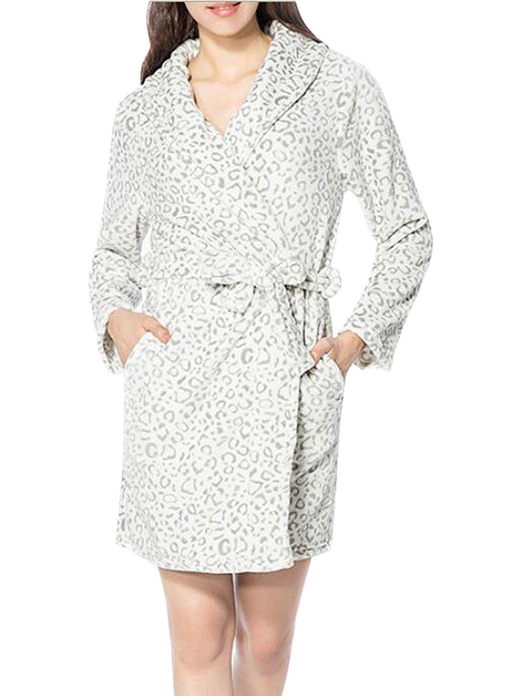 0c725b367fc Get Quotations · Suncolor8 Womens Warm Leopard Print Flannel Fleece Robe  Sleepwear Bathrobe