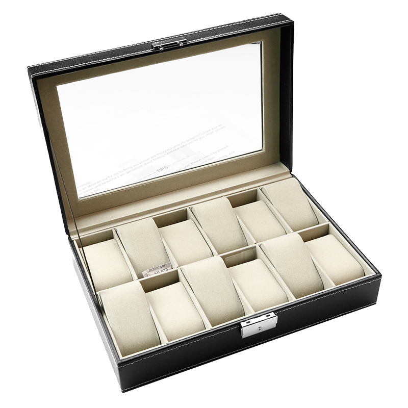 high quality new design glass window 12 slots watch box watch case packaging box