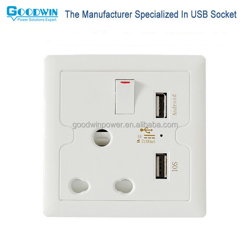 Shenzhen manufacturer South Africa wall socket with charging port 5V 2.1A