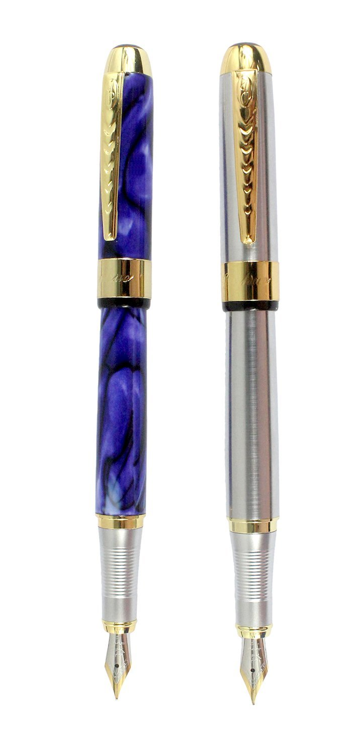 Sipliv 2PCS Fountain Pen Set, Jinhao 250, Medium Point(0.5MM), Silver & Blue Flower