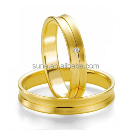 18K Gold Plated Alliance Surgical Stainless Steel Wedding Bands Engagement Couples Rings Sets Anillos De Boda Anel Ouro