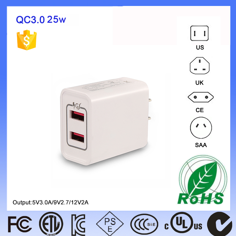US Approved 5V5.0A 5V 5.0A 2 Ports Automatic Best Cell Phone Mobile Battery Usb Wall Mount Charger For New Zealand