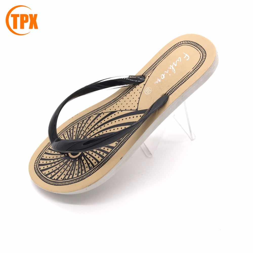 Factory wholesale pvc strap slipper ladies flat air blowing beach flip flops