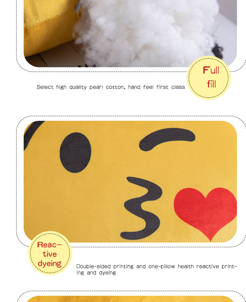 Wholesale emoji super soft round shape 30cm, 40cm, 45cm polyester yellow cushion