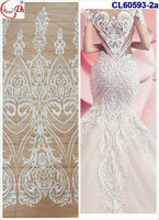 2017 Gorgeous Nigeria White Wedding Laces Fabric African French Tulle Lace Fabric For Bridal Dress CL60593
