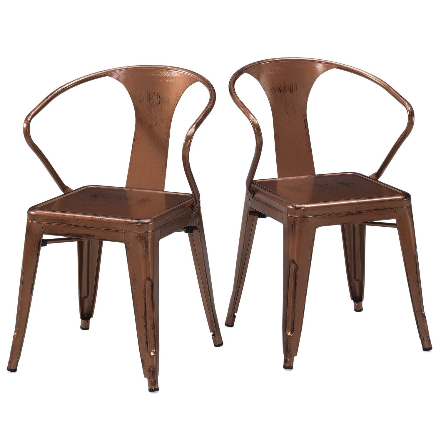 Buy Set Of 4 Copper French Bistro Metal Chairs In Glossy