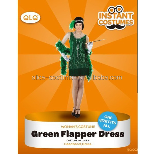 Halloween Carnival Party funny adult Green flapper costumes