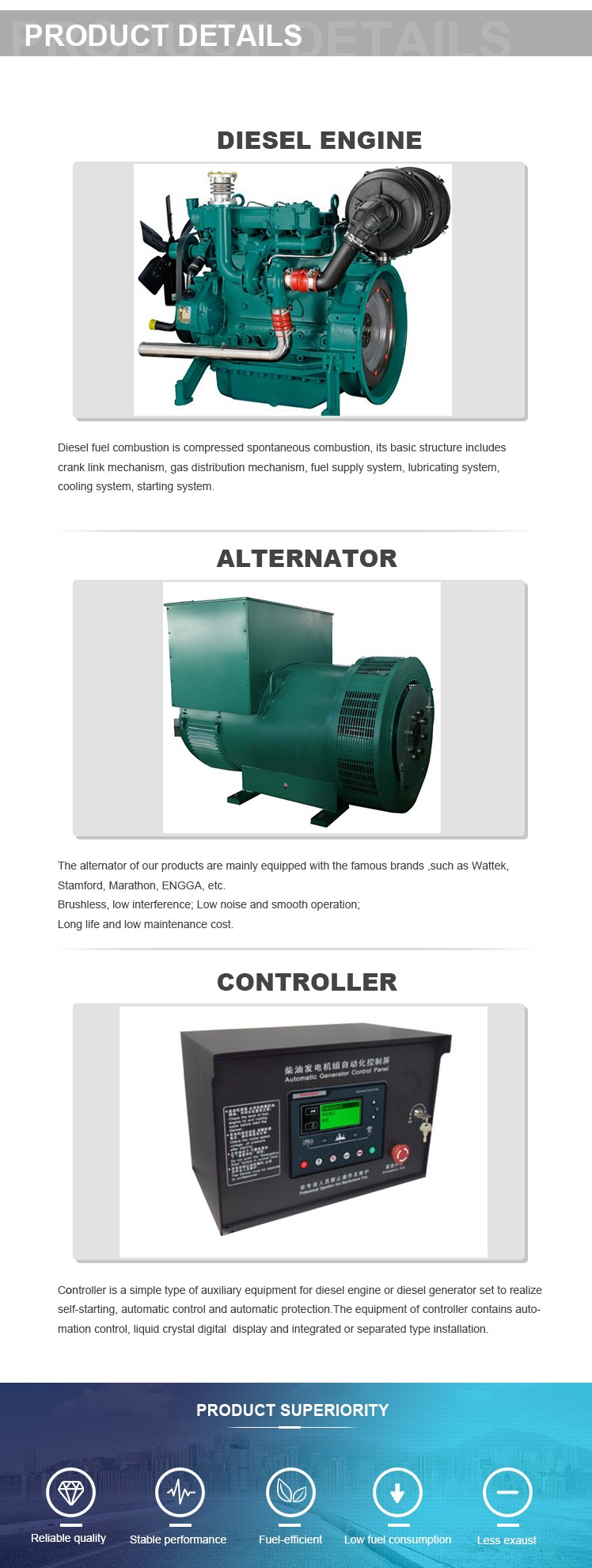 Weichai Ac 3 Phase Power Diesel Generator Set 25kw For