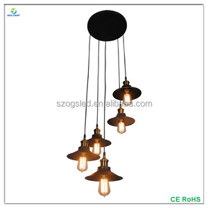 OGS Modern Black Iron Case Lighting Indoor Decor Pendant Lamp with Five E27 Edison Bulbs