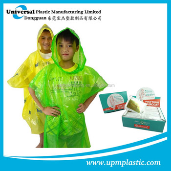 Emergency promotional waterproof disposable plastic LDPE rain poncho