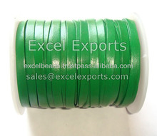 Green Flat leather Laces made of 100% Genuine leather hides in size of 3mm, 4mm, 5mm from India Excel Exports