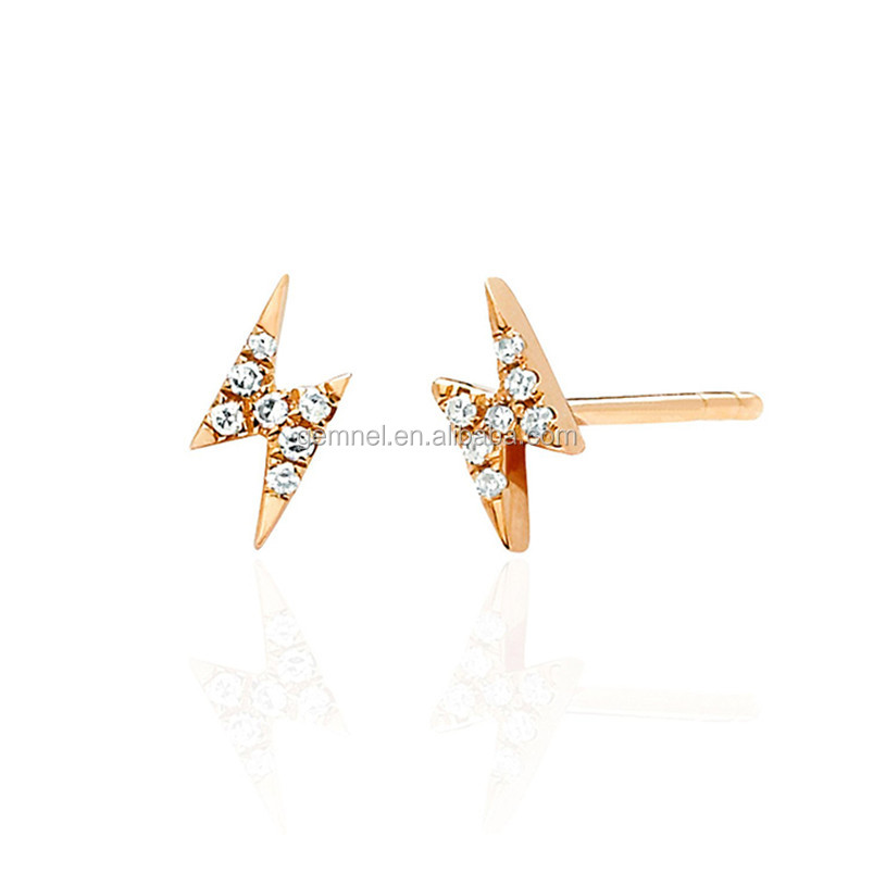 Diamond mini lighting bolt stud earrings silver jewelry wholesale