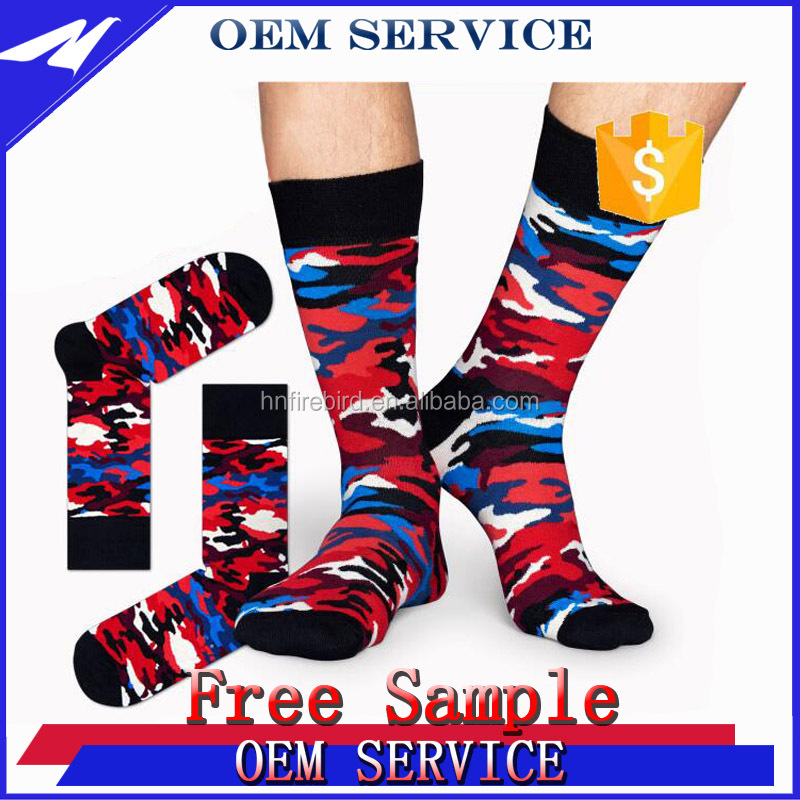 Men Colorful Happy Combed Cotton Dress Socks