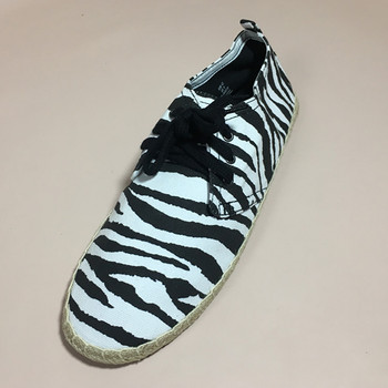 men lace up espadrilles shoes with print upper