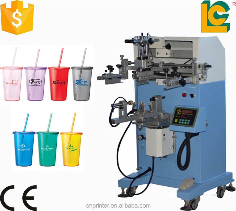 Dongguan hot sale silk screen printing machine screen printer for plastic bottle of Swizzle Acrylic Straw Tumblers LC-PA-300