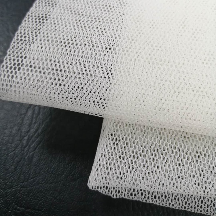 3M Width 100D 100% Polyester Stiff Mesh Fabric Hard Net for Wedding Dress Tutu  Hexagonal Hole Milk Color In-stock