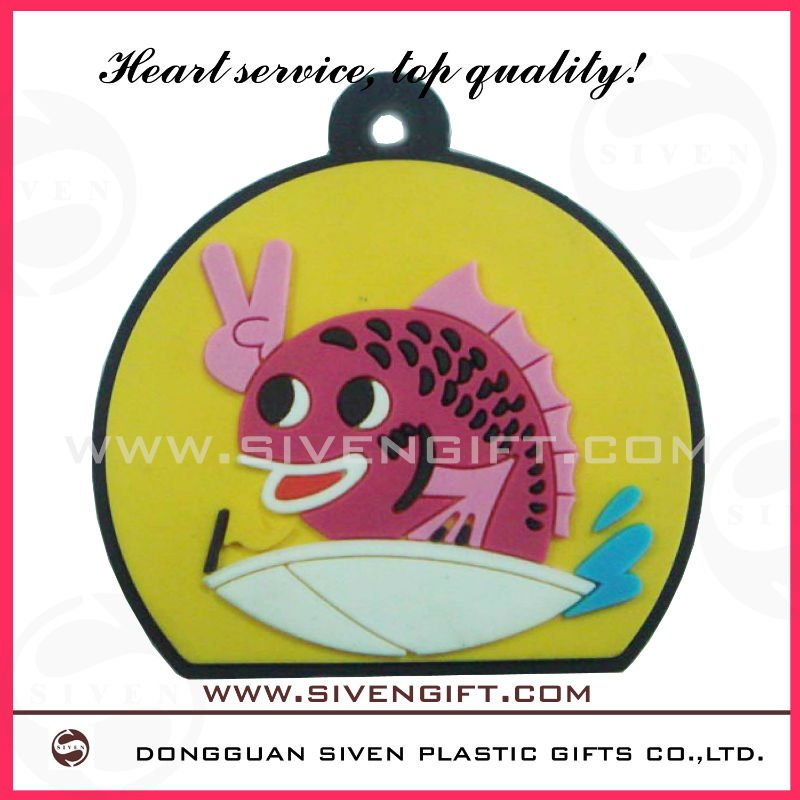 promational cute fish pvc key cover