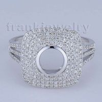 Wholesale Jewerly High Quality 14k Solid White Gold Round 6mm Natural Diamond Wedding Semi mount Finger Ring