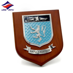 Longzhiyu 12 years manufacturer wooden shield MDF plaque for souvenir award wood shield plaque with soft enamel metal plate