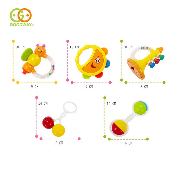 5pcs abs cute baby cognitive hand bells toys molar teether shaker rattle set
