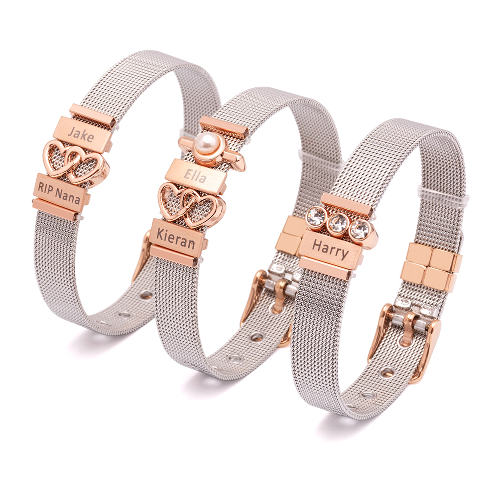 Fashion stainless steel mesh bangle heart charm bracelet for women фото