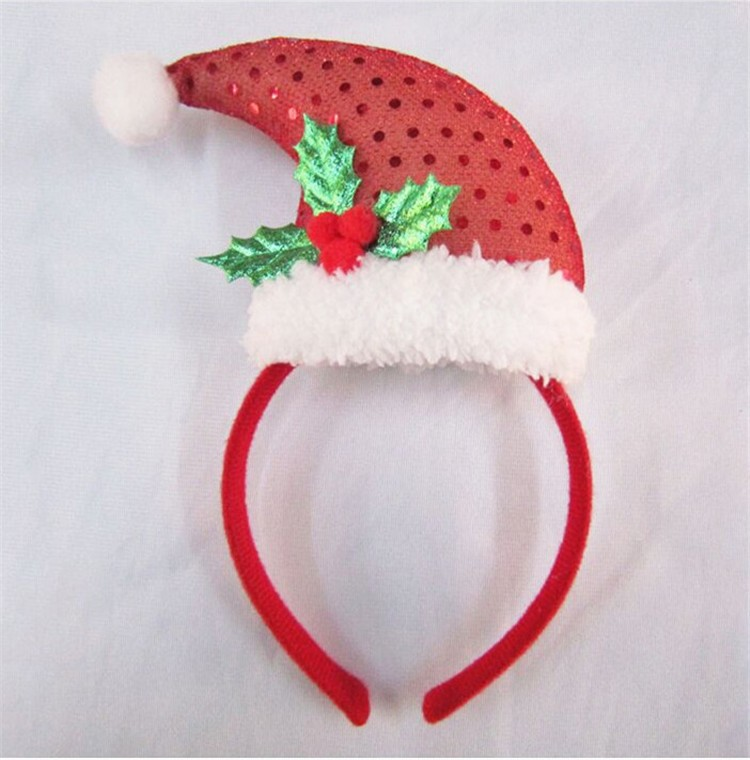 New Design Christmas Sequin Plush Headband Santa Claus Hat Hair Band