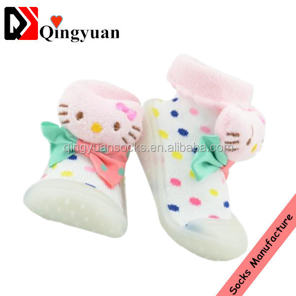 rubber sole baby sock shoes cute child kid custom 3d cartoon shoes sock