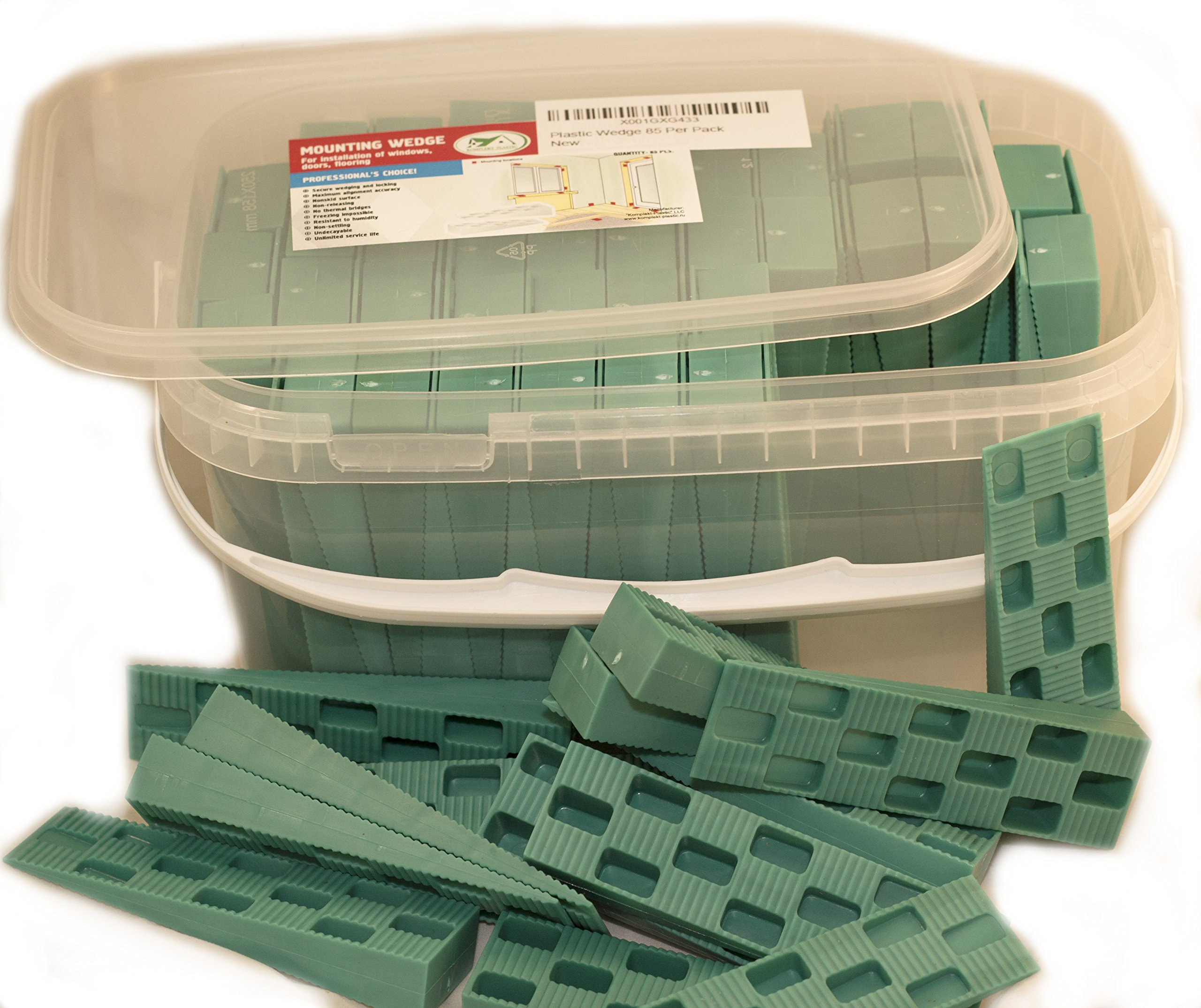 """Plastic Wedge - For Using as Door Wedges, Window Wedges, Flooring Spacers - Universal Plastic Shims - 4.5""""х1.2""""х0.7"""" - Green - 85 Per Pack"""